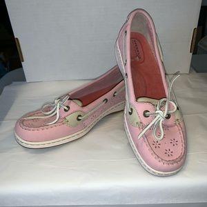 Sperry Angelfish Boat Shoes- Sz 9. Pink/Cream. EUC